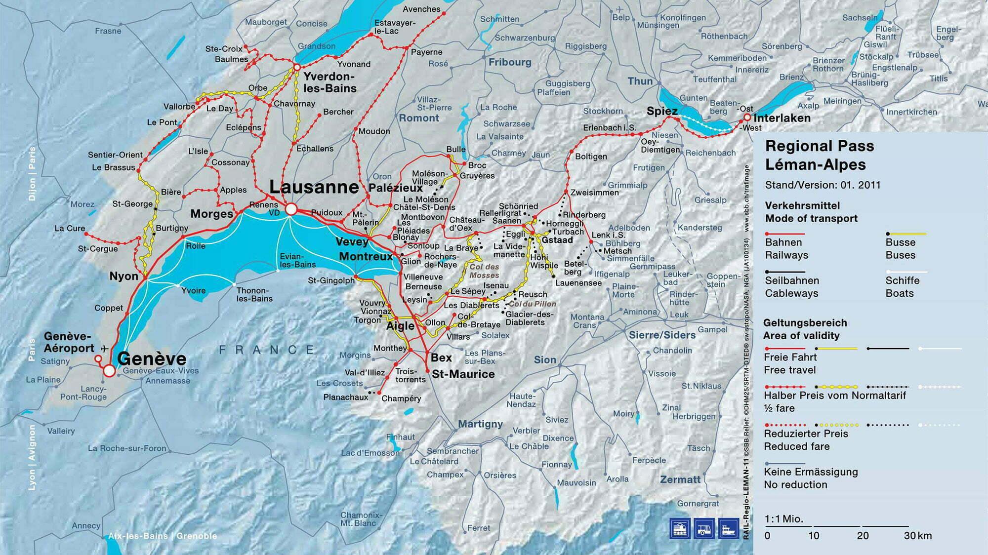 Pass Lago di Ginevra-Alpi - Mappa della validità